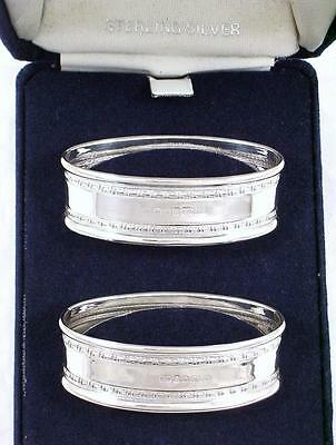 2 Boxed Vintage Sterling Silver His & Hers Oval Shape Napkin Rings dated 1992