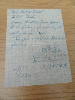 WW1 FIRST MESSAGE EVER SENT FROM INFANTRY TO TANKS, 15th September 1916