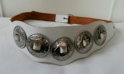 """Vintage Early 1980's White Leather New Romatic Cinch Belt w/ Metal Trims 28""""-32"""""""