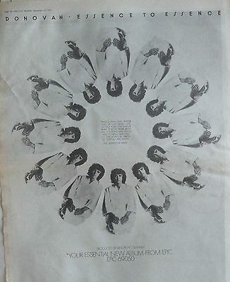 DONOVAN : Essence To Essence -Poster Size NEWSPAPER ADVERT- 1973 30cm X 40cm