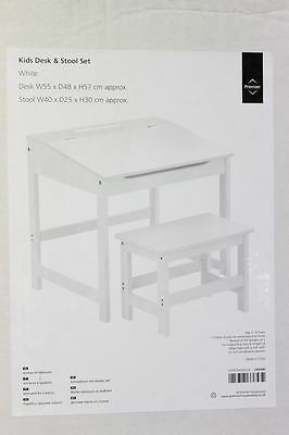NEW PREMIER HOUSEWARES White Children's Study Reading Table Desk & Stool