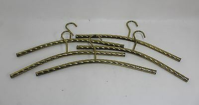 5 x Brass Toned Tubular Twisted Metal Vintage Style Retro Clothes Hangers