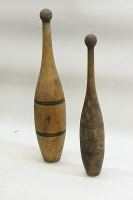 2 X Primitive Antique Vintage Wooden Juggling Circus Exercise Bowling Pins