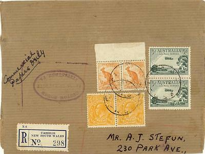 Australia 1940 Registered Paper Cover Interesting Rate To Us