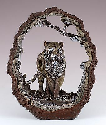 """Tiger Carved Wood Look Bark Frame Figurine Resin 6.5"""" High New In Box!"""