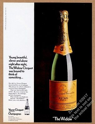 1972 Veuve Clicquot Ponsardin brut champage bottle color photo vintage print ad