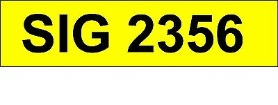 SIG 2356   Personalised / Cherished Registration  Private Number Plate.