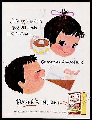 1956 Mary Blair little girl boy art Bakers Instant chocolate milk cocoa print ad