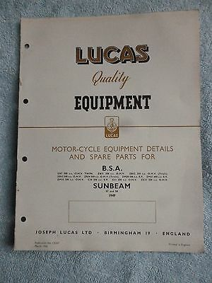 Lucas BSA SUNBEAM Motorcycle Equipment & Spare Parts 1949