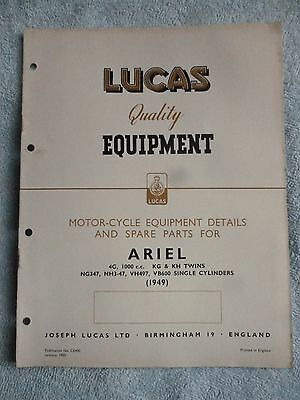 Lucas ARIEL Motorcycle Equipment & Spare Parts 1949