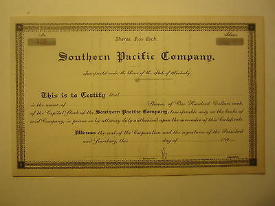 Old 1890's - SOUTHERN PACIFIC COMPANY - Stock Certificate - State of KENTUCKY