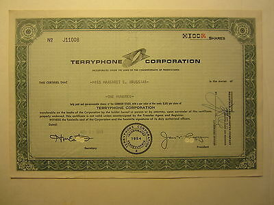 Old Vintage 1963 - TERRYPHONE Corporation - Stock Certificate - PA.
