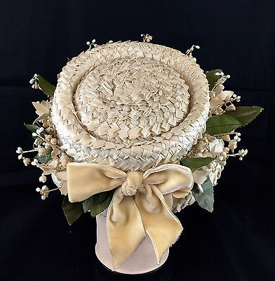 Raffia Cloche Hat Straw w/ Flowers Vtg 30s Bullocks Wilshire Church Dress Derby