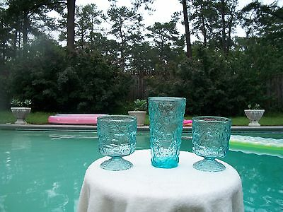 Anchor Hocking Lido  Milano Crinkle Aqua Blue Glass Lot Tumbler Footed Goblets