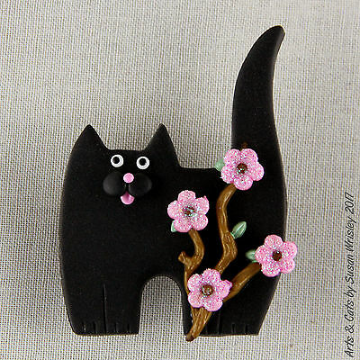 Standing Black Kitty Cat with Pink Flowering Branch Pin 2 - SWris