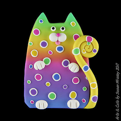 Green Yellow Pink Kitty Cat Pin with Colorful Spots - SWris