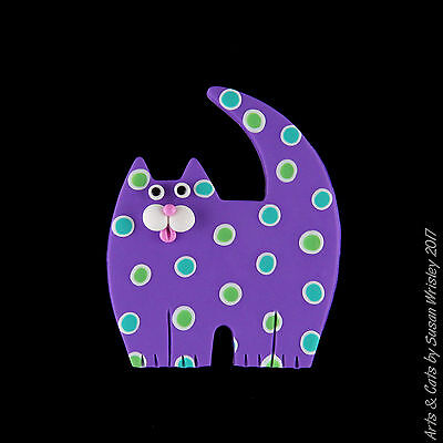 Medium Standing Purple Kitty Cat with Colorful Spots Pin - SWris