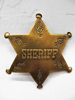 Deluxe Brass Law Star Badge Sheriff Vtg-Look Patina