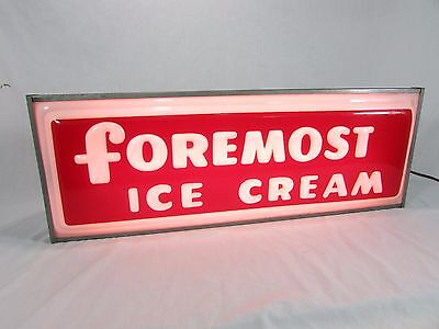 """Vintage Foremost Ice Cream 25"""" Lighted Sign~Store Display~Super Bright~Dairy"""