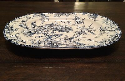"222 Fifth LARGE SERVING PLATTER ADELAIDE BLUE ~White ~Toile  Bird 10"" X 14"""