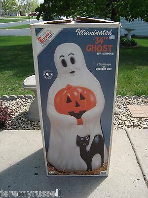 "Vintage Empire Illuminated Blow Mold Ghost Halloween Yard Decoration 34"" in Box"