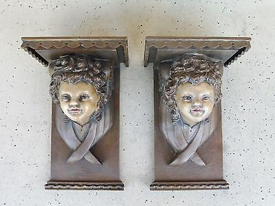 Pair Of Vintage Compo & Wooden Angel Or Putti Head Shelves / Corbels
