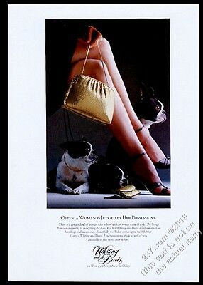 1982 Boston Terrier 3 dog photo Whiting and Davis gold purse handbag bag ad