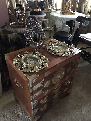 Vintage Brass Trimmed Campaign Style Cabinet Chest Chinoiserie Burl End Table
