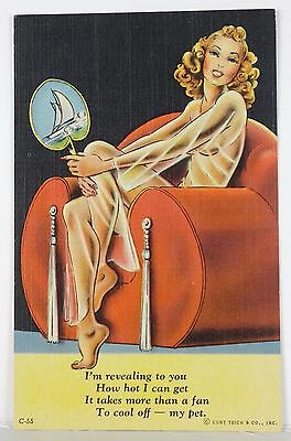1940's  Curt Teich & Co C-55 Pin-Up Girl Post Card Unused!