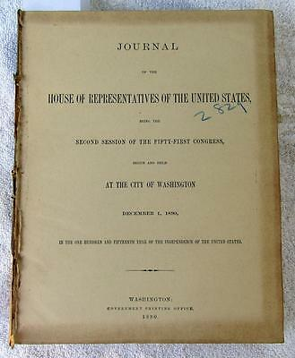 1891 HOUSE of REPRESENTATIVES Journal Daily Proceedings 51st Congress 2nd Sessio