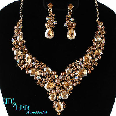 High End Gold Chunky Crystal & Pearl Prom Wedding Formal Necklace Jewelry Set