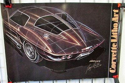 1963 Chevy Corvette Split Window Poster Print Larry Shinoda Signed Large Rare