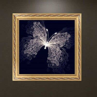 DIY 5D Diamond Embroidery Painting White Butterfly Cross Stitch Craft Home Decor