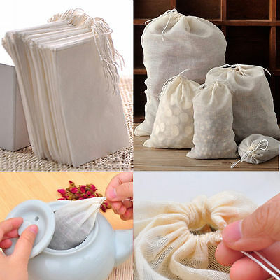 10 / 50 / 100 Packs Reusable Natural Cotton Drawstring Tea Soap Herbs Soup Bags