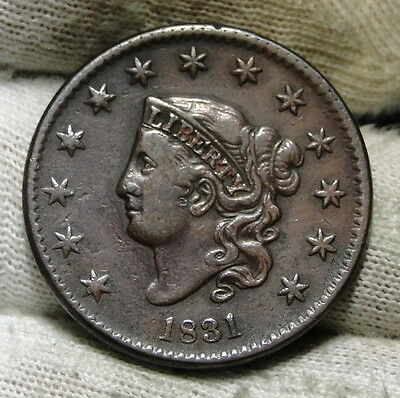 1831 Penny Coronet Large Cent - N8 R-3, Nice Coin, Free Shipping  (6027)
