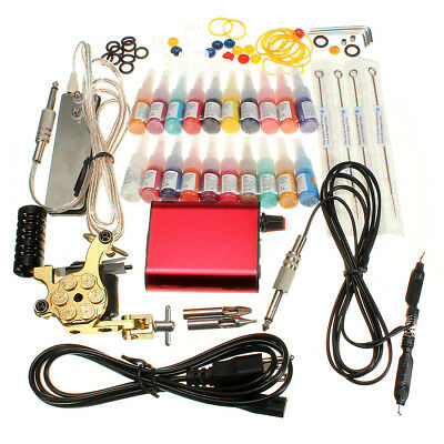 Kit Tatuaggio Tattoo Macchina Gun 20 Colore Inchiostro Power Supply Needle Pedal