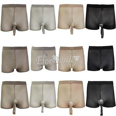 Mens Sheer SeeThrough PantyhoseSheath Underwear Boxer Shorts Thongs Briefs Women