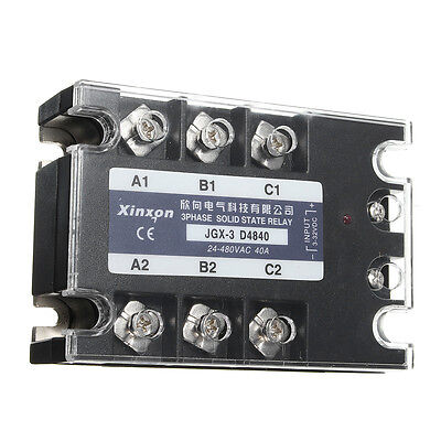 JGX-3 D4840 3Phase Three-phase Solid State Relay 40A SSR DC-AC 3-32VDC 24-480VAC