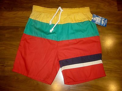 NEW Vtg 80s Color Block CASTAWAY Nautical Flag Youth XL swim Shorts Trunks NWT