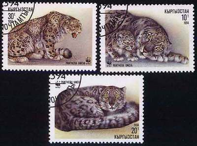 KYRGYZSTAN (02/1) 1994 WWF Tigers Animals Used 3 diff. Stamps ! Gift Children !