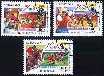 KYRGYZSTAN (08/1) 1996 Olympic Games Horses Used 3 diff. Stamps! Gift Children!