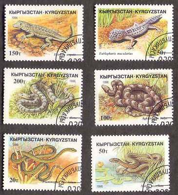 KYRGYZSTAN (09/1) 1996 Snakes Reptiles Used 6 diff. Stamps! Gift Your Children!