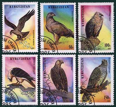 KYRGYZSTAN (04/1) 1995 Birds of Prey Eagle Used 6 diff. Stamps ! Gift Children !