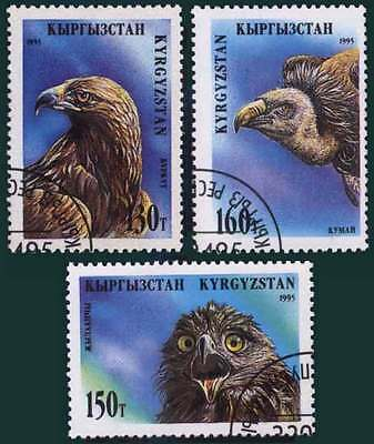 KYRGYZSTAN (10/1) 1995 Birds of Prey Eagle Used 3 diff. Stamps ! Gift Children!
