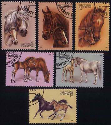 KYRGYZSTAN (05/1) 1995 Horses Animals Used 6 diff. Stamps ! Gift Your Children !