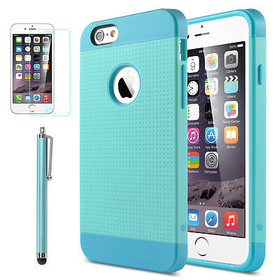 "Rugged Rubber Hard Shockproof Cover Case for Apple iPhone 6 6S 4.7"" Blue"