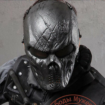 Outdoor Paintball War Game CS Mesh Metal Airsoft Full Face Mask 06-Black God
