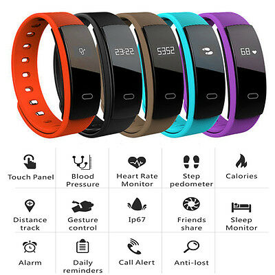 QS80 Bluetooth Smart Watch Heart Rate Blood Pressure Monitor Tracker Bracelet AU