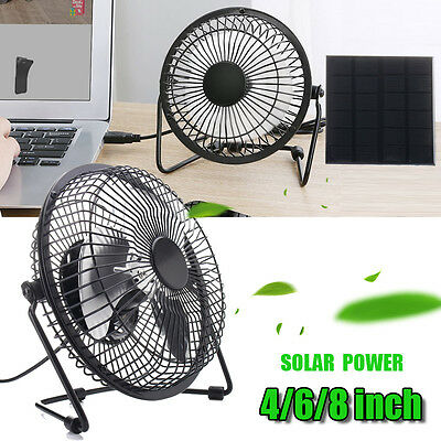 4/6/8'' USB Iron Solar Powered Fan 5W Panel For Outdoor Home Cooling Ventilation