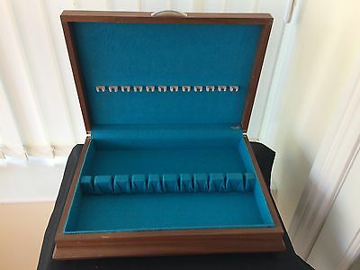 vintage - retro large empty cutlery box with blue lining